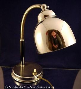French Art Deco Modernist Chrome Desk Lamp c1930'S