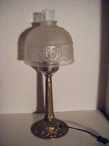 Vintage Metal Brass Electric Table Desk Lamp Glass Shade Chimney Art Deco