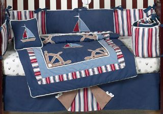 Cheap Navy Blue Nautical Sail Boat Themed 9P Baby Boy Crib Bedding Comforter Set