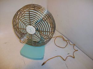 "50s 60s Vintage Superior Electric Table Fan 8"" Blade Pastel Blue Works Great"