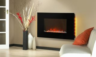 "Electric Wall Mount Backlight Fireplace 36"" Glass Pebbles Heater Big 530EPL"