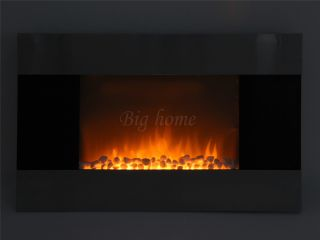 "Electric Wall Mounted Steel 36"" Glass Fireplace Heater Pebbles w Remote Contorl"