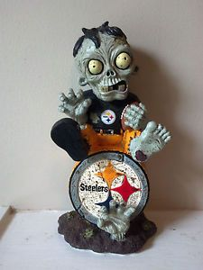 New 2013 Pittsburgh Steelers Zombie Garden Gnome Sitting on Logo