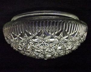 "Art Deco Glass Ceiling Light Shade 8"" Clear Prismatic Pan Flush Mount Industrial"