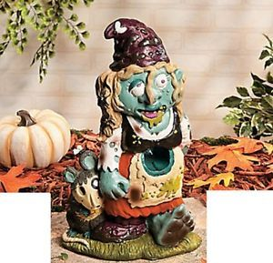 Scary Zombie Female Gnome Outdoor Garden Halloween Decoration New