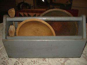 Antique Vtg Rustic Primitive Wooden Garden Tool Box Tray Tote Carrier Planter
