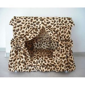 Leopard Print Dog Cat Handmade Bed House Brown s M