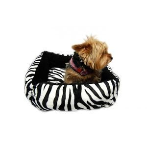 Zebra Print Plush Dog Bed with Black Lining Also Avail with Pink Lining