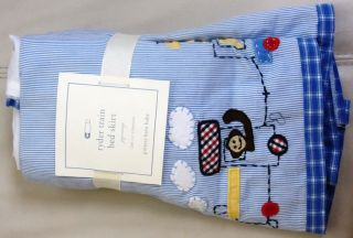 Pottery Barn Kids Baby Boy Ryder Train Crib Bed Skirt Dust Ruffle Blue Train