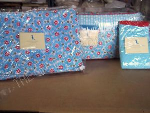 Pottery Barn Kids Pinwheel Baby Crib Bed Set Quilt Bumper Sham 3pc Red Blue