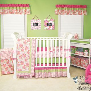 Baby Girl Pink Green Boutique Crib Nursery Newborn Bedding Quilt Bed Room Set