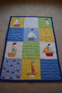 Pottery Barn Kids Baby Boats Crib Set Quilt Skirt Bumper Sheets Valance