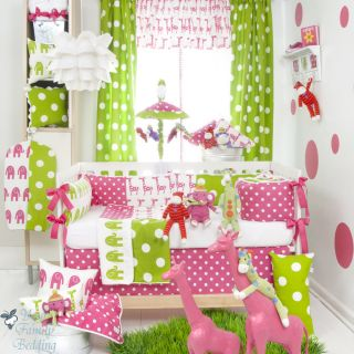 Glenna Jean Baby Girl Bright Pink Green Elephant Crib Nursery Bedding Quilt Set