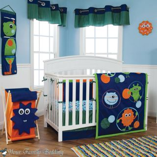 Baby Boy Girl Unisex Neutral Little Monster Alien Crib Nursery Quilt Bedding Set