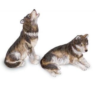 Pair of Howling Wolves Ceramic Salt Pepper Shaker s P Set