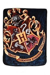 Harry Potter Hogwarts Crest HP Micro Raschel Fleece Throw Bed Blanket 48x60
