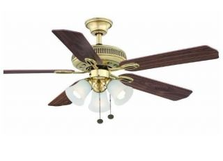 Hampton Bay Glendale 52 inch Ceiling Fan with Light Kit Flemish Brass