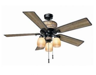 Hampton Bay Ellijay 52 inch Indoor Outdoor Ceiling Fan with Light Kit Iron