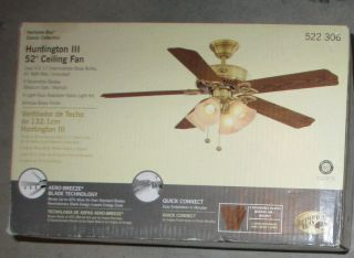 "Hampton Bay Huntington III 52"" Ceiling Fan w 4 Light Kit New Unopened"
