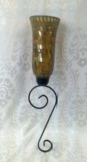 Amber Glass Mosaic and Swirled Iron Wall Sconce Holds Candle