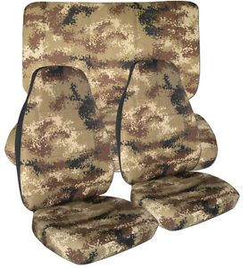 Jeep Wrangler TJ Digital Camo Tan Front Rear Car Seat Covers So Cool More Avbl