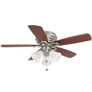 Hampton Bay Maris 44 in Indoor Brushed Nickel Ceiling Fan with Light Kit