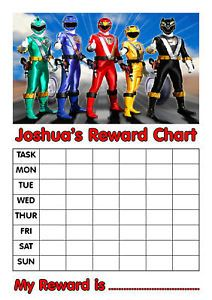 Personalised Power Rangers Reward Chart Stickers