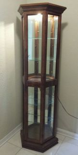 Speckled Wood Curio Cabinet with Glass Shelves