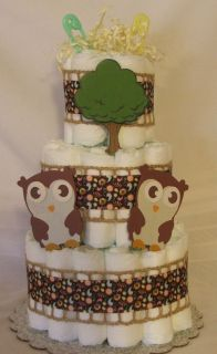3 Tier Diaper Cake Whoo Loves You Owls Baby Shower Centerpiece NoJo JoJo Cocalo