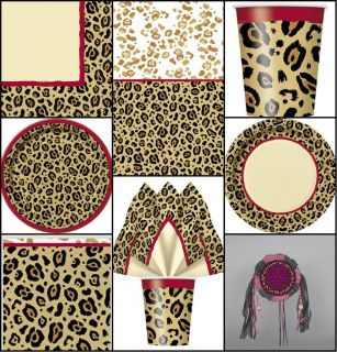 Leopard Cheetah Animal Print Birthday Party Tableware Decorations Plates Cups