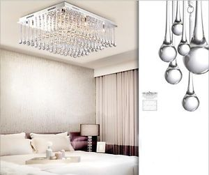 "26"" Elegant Modern Bedroom Lights Crystal Flush Mount Chandelier Ceiling Fixture"