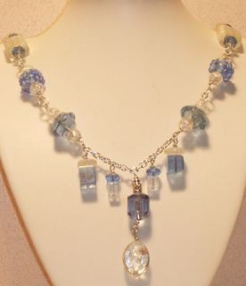 White Hyancinth Blue Crystal Glass Necklace