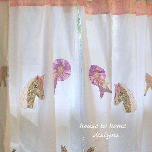 Giddy Up Window Drapes Girls Pony Horses White Curtain Panels