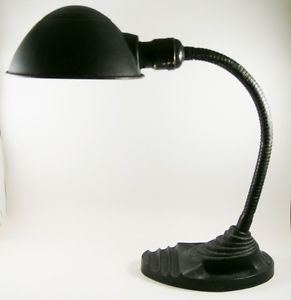 Vintage Art Deco Black Metal Industrial Gooseneck Desk Lamp Cast Iron Base