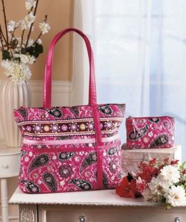 Quilted 2 Piece Pink Girls Diaper Bag Gift Baby Shower Tote Carrier Paisley