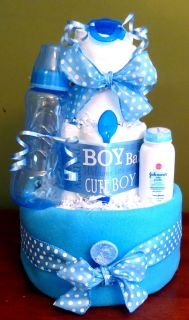 Bouncing Baby Boy Blue 3 Tier Boutique Style Diaper Cake Baby