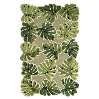 Direct Home Textiles Nature's Beauty Leaf Green Tropical Leaves Rug