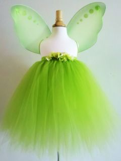 Baby Girls Tinkerbell Tutu Dress Skirt Costume Green Fairy Wings 0 Month Size 8