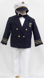 New Navy Baby Boy Toddler Sailor Suit Special Formal Outfit Sizes 1 2 3 4 5 6 7