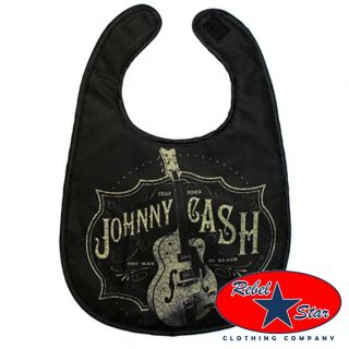 Johnny Cash Guitar Baby Bib Kids Rockabilly Tattoo Cool Punk Retro Sun Country