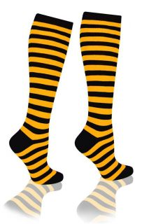 Orange and Black Knee High Striped Cotton Socks Costume Halloween Party Sports