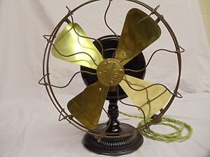 Antique General Electric Stick Mount Pancake Electric Fan with Brass Blades