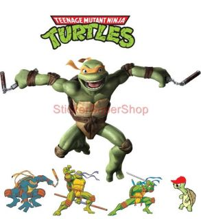 Choose Size Michelangelo Ninja Turtles Decal Removable Wall Sticker Decor TMNT