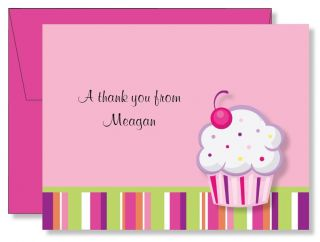 Custom Personalized Cupcake Stripes Thank You Note Cards