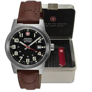 Wenger Men's Classic Field Black Dial Brown Leather Watch Swiss Army Knife Gift