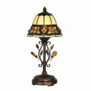 Dale Tiffany Pebblestone Accent Table Lamp Antique Sand and Art Glass Shade