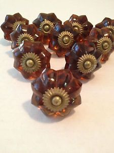 Antique Lot of 10 Vintage Amber Glass Brass Drawer Pulls Cabinet Knobs