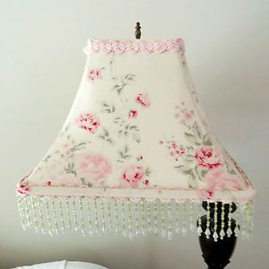 Rachel Ashwell Lamp Shade Wildflower Butter Pink Shabby Chic Glass Beaded Trim