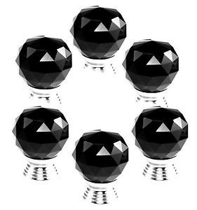 6pcs x Black Crystal Glass Cut Door Knobs Pull 30mm Cabinet Kitchen Handle G78