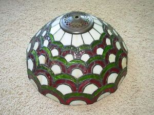 "Vintage Unsigned Table Lamp Leaded Stained Glass Shade 14 1 2"" Art Deco Style"